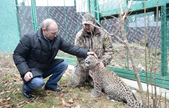 Russia's President Vladimir Putin visited leopard breeding and rehabilitation center in the Sochi National Park