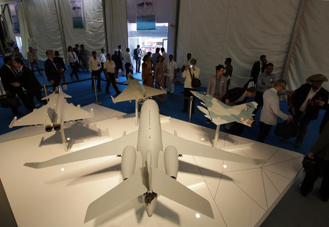 El stand de la compañía en Dassault Aviation Aero India Air Show 2015